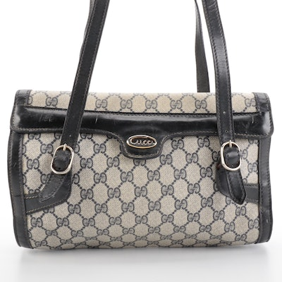 Gucci Shoulder Bag in Navy GG Supreme Canvas with Leather