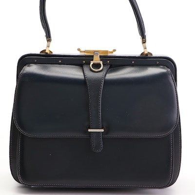 Gucci Frame Top Handle Bag in Smooth Navy Leather