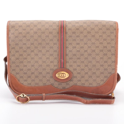 Gucci Flap Shoulder Bag in Tan Micro GG Coated Canvas and Brown Leather