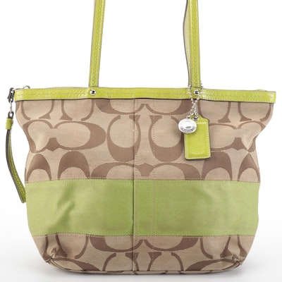Coach Signature Stripe Canvas Shoulder Bag with Lime Green Leather Trim