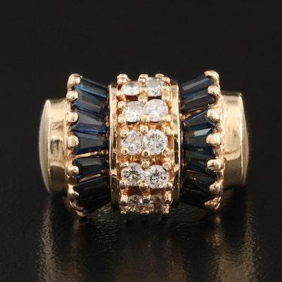 14K Diamond and Sapphire Ring