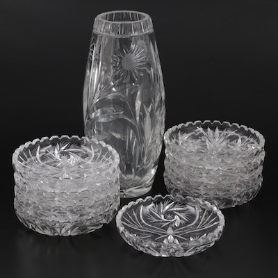 American Brilliant Cut Glass Style Nut Bowls with Cut Glass Vase