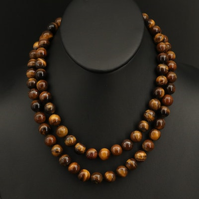 Tiger's Eye Beaded Necklace with Sterling Clasp
