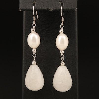 Sterling Pearl and Feldspar Pendulum Earrings