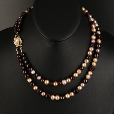 14K Pearl and Rhodolite Garnet Double Strand Necklace