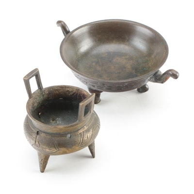 Chinese Hand-Chased Brass and Bronze Censers, 20th Century