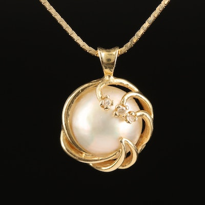 14K Pearl and Diamond Spiral Pendant Necklace