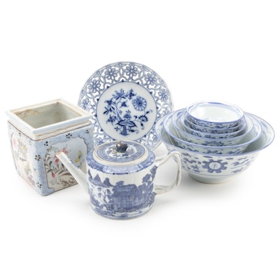 Chinese Blue and White Ceramic Bowls, Teapot and Vase