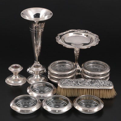 Weighted Sterling Coasters, Candlesticks, and Brush with Other Silver Plate