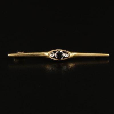 Vintage 18K Italian Gold Sapphire and Diamond Bar Brooch