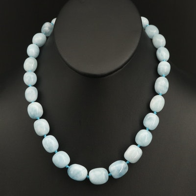 Aquamarine Beaded Necklace with Sterling Clasp
