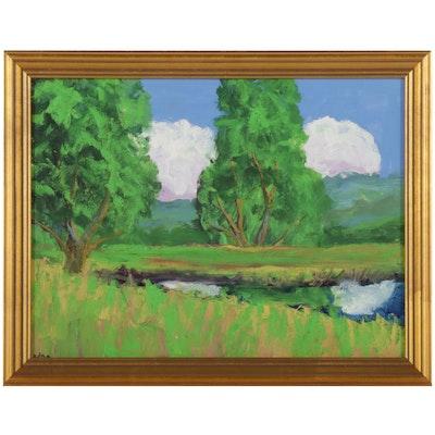 Kenneth R. Burnside Pastoral Creek Landscape Oil Painting, 21st Century