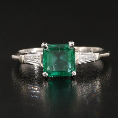 14K and Platinum Emerald and Diamond Ring