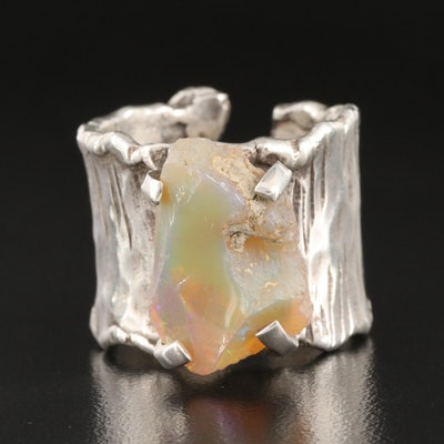 Artisanal Sterling Silver Opal Ring
