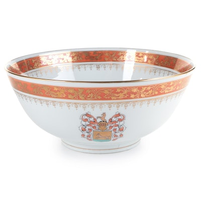 Chinese Export Armorial Style Porcelain Punch Bowl