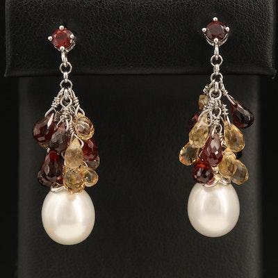 Sterling Pearl, Citrine and Garnet Drop Earrings