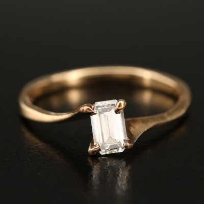 14K 0.59 CT Diamond Solitaire Bypass Ring