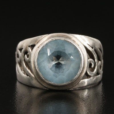 Sterling Silver Sky Blue Topaz Scrollwork Ring