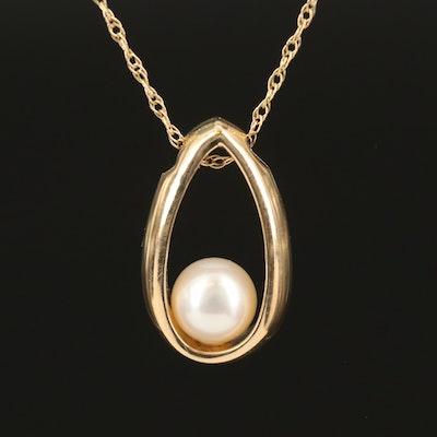 14K Pearl Teardrop Pendant Necklace
