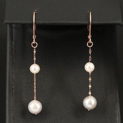 14K Rose Gold Pearl Drop Earrings