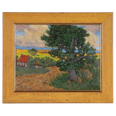 Impressionist Style Landscape Oil Painting, 1929