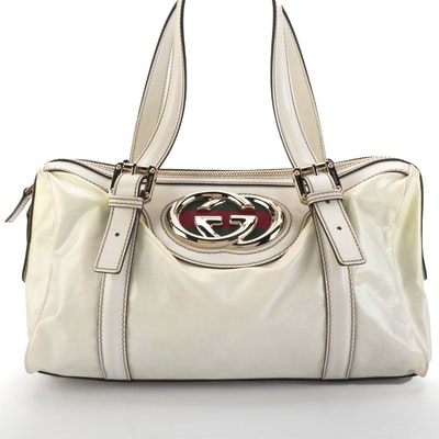 Gucci Small Dialux Britt Boston Satchel in White Coated Twill and Leather