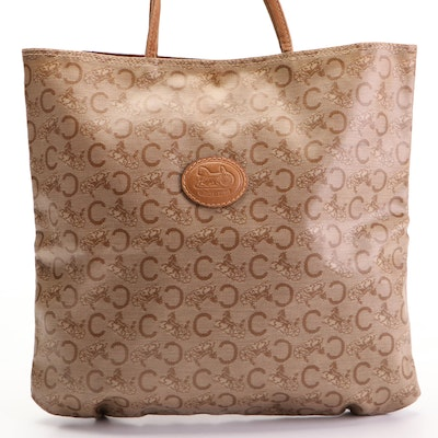 Celine Small Tote Bag in Big C and Horse Carriage Coated Canvas