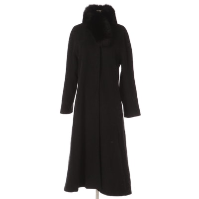 Halston Black Wool Coat with Black Fox Fur Collar