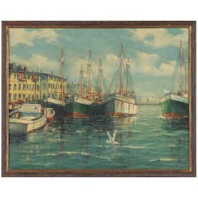 Frank Schneider Oil Painting of Palm Beach Harbor, Early 20th Century
