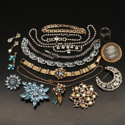 Rhinestone Grouping Including Necklace, Brooch, Bracelets and Earrings