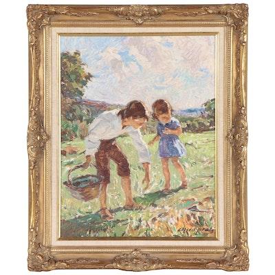 José Manuel Chico Prats Genre Oil Painting, Late 20th Century