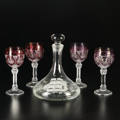 Bohemian Wine Goblets with Etched Glass Decanter