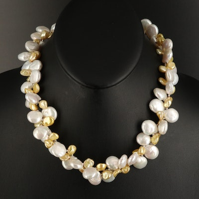Sterling Pearl Double Strand Necklace