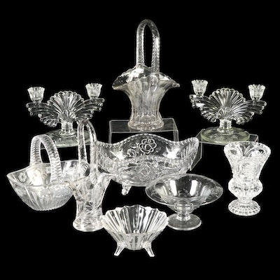 """Paden City """"Maya"""" Glass Candle Holders with Etched and Pressed Glass"""