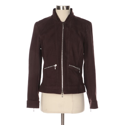 St. John Sport Brown Zippered Jacket with Knit Collar