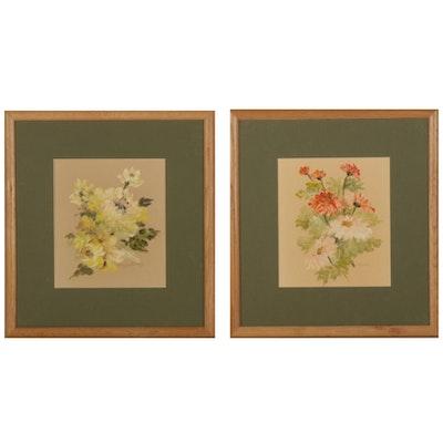 Hugh Burley Still Life Oil Paintings of Flowers, Late 20th Century