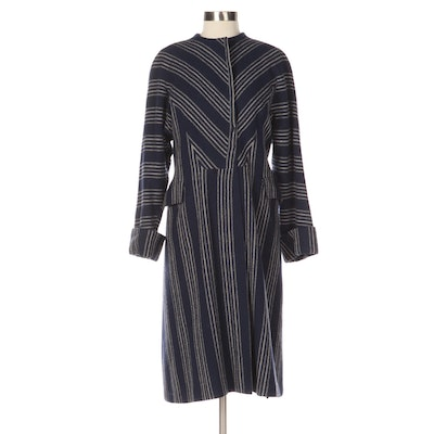 Navy and Ivory Striped Wool Coat with Turned Back Cuffs