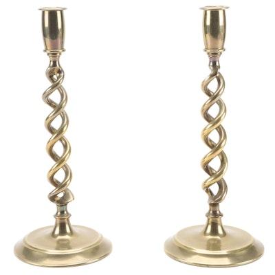 Pair of Brass Plate Spiral Candlesticks