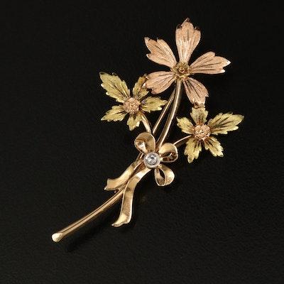 1940s 14K 0.03 CT Diamond Flower Brooch with Palladium Accent