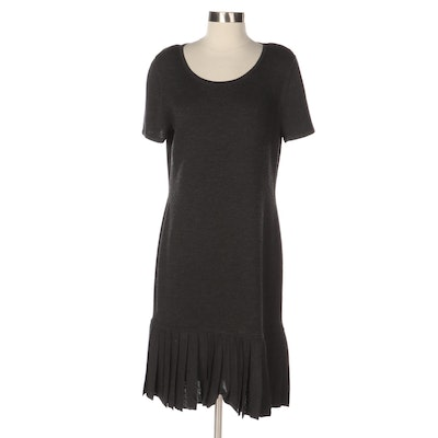 St. John Sport Knit Dress in Charcoal Gray with Rounded Neck and Pleated Hemline