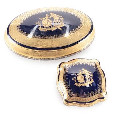 Limoges Cobalt and Gilt Decorated Porcelain Boxes, Mid to Late 20th Century