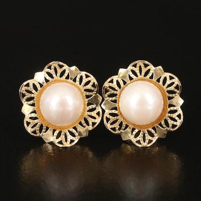 14K Pearl Openwork Earrings