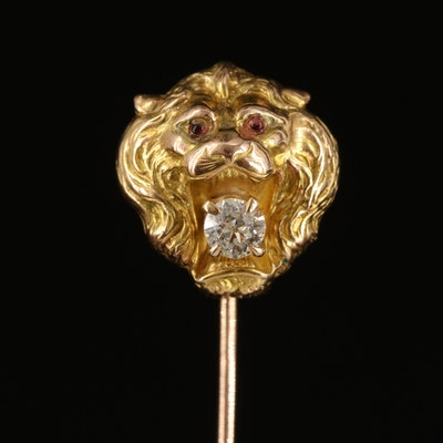 Antique 14K and 10K 0.17 CT Diamond and Glass Lion Stick Pin