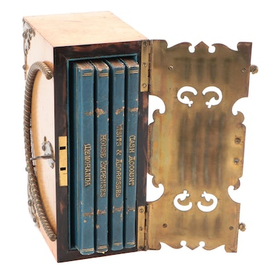 Victorian English Ladies Book Box with Set of Housekeeping Journals, Mid-19th C.