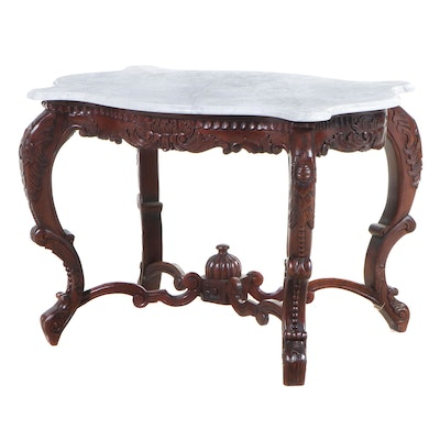 Rococo Revival Style Carved Hardwood and White Marble Center Table