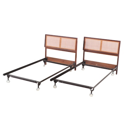 Mid Century Modern Walnut and Cane Upholstered Twin Bed Frames