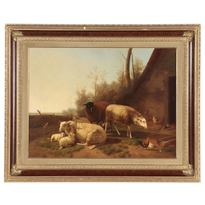 Oil Painting of Sheep, Late 19th Century