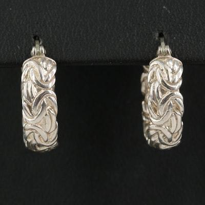 Sterling Byzantine Link Hoop Earrings
