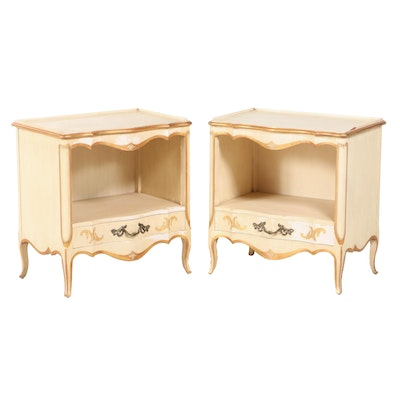 Pair of John Widdicomb Louis XV Style Cream-Painted and Parcel-Gilt Nightstands