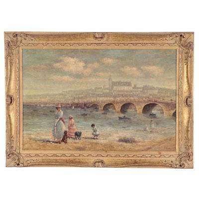 Riverbank Scene Oil Painting, 1975